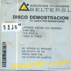 Discos de vinilo: DISCO DEMOSTRACION BELTER 8 TEMAS (EP PROMO 1969 VER TEMAS) 33 RPM. Lote 52339178