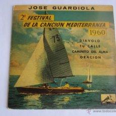 Discos de vinilo: JOSE GUARDIOLA - DIAVOLO (2º FESTIVAL DE LA CANCION MEDITERRANEA, 1960) 1960 SPAIN EP * VINILO AZUL. Lote 52355294
