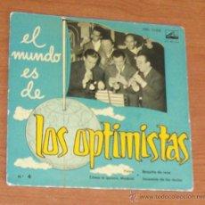 Dischi in vinile: LOS OPTIMISTAS -EP VINILO 7``- EL MUNDO ES DE: PIOVE/COMO TE QUIERO MADRID/BOQUITA DE ROSAS/SERENATA. Lote 52427951