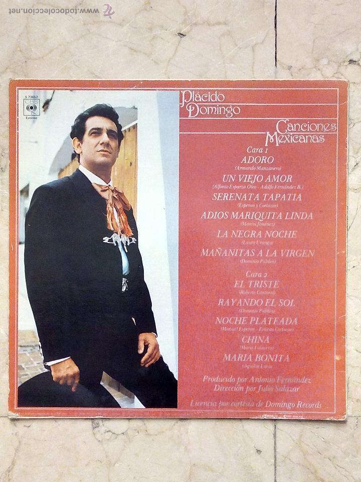 Discos de vinilo: LP PLÁCIDO DOMINGO - CANCIONES MEXICANAS - ADORO - UN VIEJO AMOR........ - CBS 1982. - Foto 2 - 52448868
