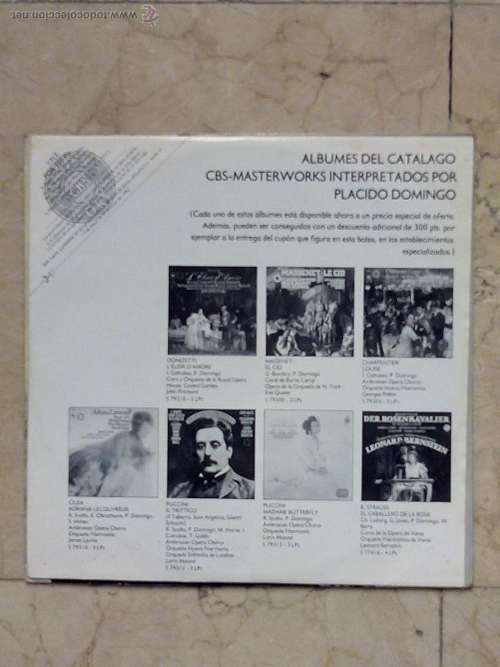 Discos de vinilo: LP PLÁCIDO DOMINGO - CANCIONES MEXICANAS - ADORO - UN VIEJO AMOR........ - CBS 1982. - Foto 4 - 52448868