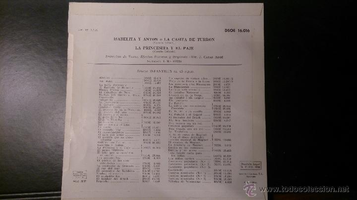 Discos de vinilo: DISCO LA PRINCESA Y EL PAJE ISABELITA Y ANTON O LA CASITA DE TURRON - Foto 2 - 52486466