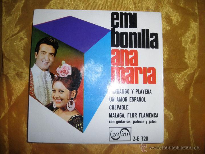 EMI BONILLA Y ANA MARIA. FANDANGO Y PLAYERA + 3. EP. ZAFIRO. (Música - Discos de Vinilo - EPs - Flamenco, Canción española y Cuplé)