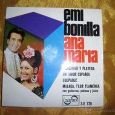 Discos de vinilo: EMI BONILLA Y ANA MARIA. FANDANGO Y PLAYERA + 3. EP. ZAFIRO.. Lote 152181046