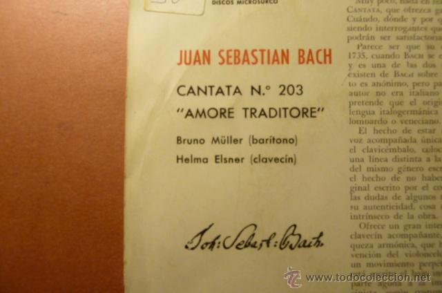 Discos de vinilo: BACH CANTATA N.203 ,AMORE TRADITORE, - Foto 2 - 52523589