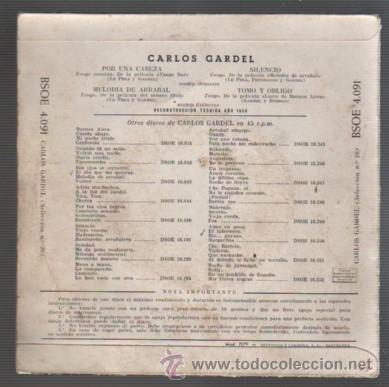 Discos de vinilo: DISCO EP DE CARLOS GARDEL - POR UNA CABEZA - ODEON BSOE 4091 - Foto 2 - 52531785