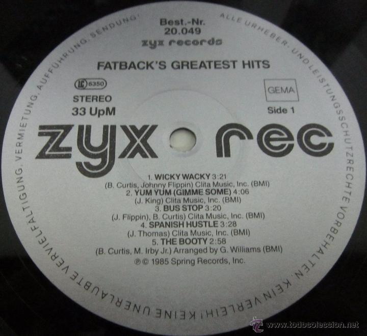 Discos de vinilo: FATBACK - FATBACK'S GREATEST HITS - LP - ZYX RECORDS 1985 GERMANY - Foto 2 - 52536982