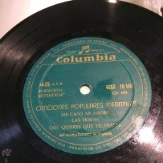 Discos de vinilo: 'CANCIONES POPULARES INFANTILES'. 6 TEMAS. DISCOS COLUMBIA. AÑO 1958. SIN FUNDA, SÓLO DISCO.. Lote 52543873