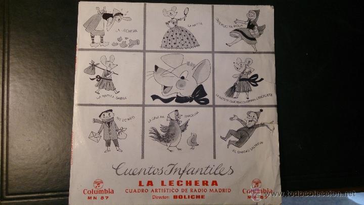 DISCO VINILO SINGLE CUENTOS INFANTILES LA LECHERA . RADIO MADRID. DIRECTOR BOLICHE. 1964 (Música - Discos - Singles Vinilo - Música Infantil)