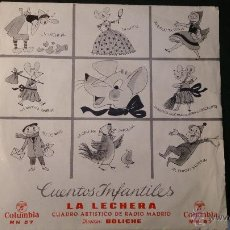 Discos de vinilo: DISCO VINILO SINGLE CUENTOS INFANTILES LA LECHERA . RADIO MADRID. DIRECTOR BOLICHE. 1964. Lote 52550225
