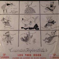 Discos de vinilo: DISCO VINILO CUENTOS INFANTILES LOS TRES OSOS RADIO MADRID. 1964 COLUMBIA DIRECTOR BOLICHE . Lote 52552538