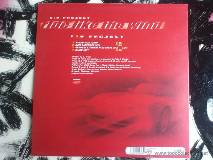 Discos de vinilo: D & M PROJECT - RIDE LIKE THE WIND - MAXI - VINILO - VALE - 2002 - Foto 2 - 52557413