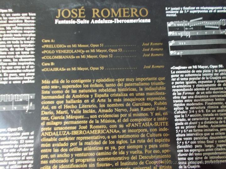 Discos de vinilo: JOSÉ ROMERO. FANTASIA-SUITE ANDALUZA MAXI 12 - Foto 3 - 52612972