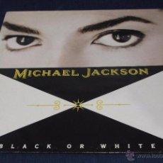 Discos de vinilo: MAXI MICHAEL JACKSON, BLACK OR WHITE + INSTRUMENTAL + BAD + THRILLER. CUATRO TEMAS. Lote 52621958