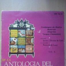 Discos de vinilo: ANTOLOGIA DEL CANTE FLAMENCO VOL.II- JARITO Y PERICON DE CADIZ- EP HISPAVOX 1958 . Lote 52666467