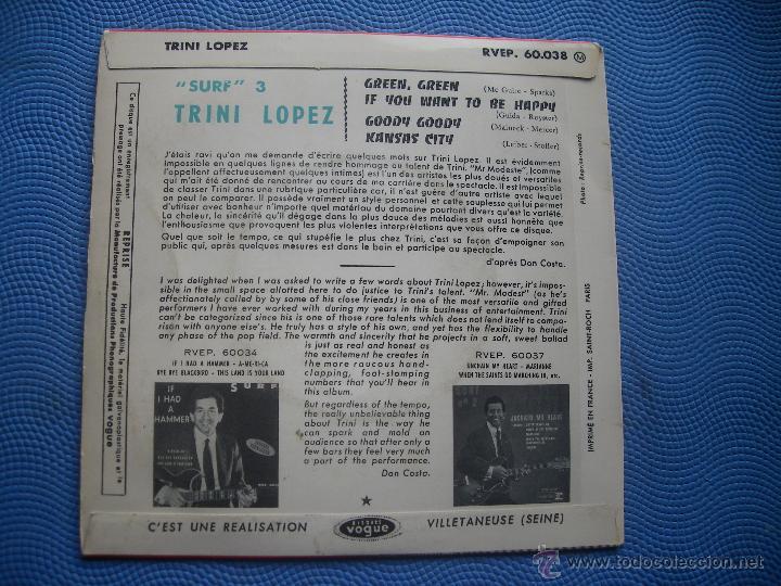 Discos de vinilo: TRINI LOPEZ GREEN GREEN+3 EP FRANCIA PDELUXE - Foto 2 - 52724712
