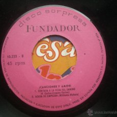 Discos de vinilo: SINGLE FUNDADOR CON CARATULA CANCIONES Y AMOR EP 1971 VER FOTOS. Lote 52727709