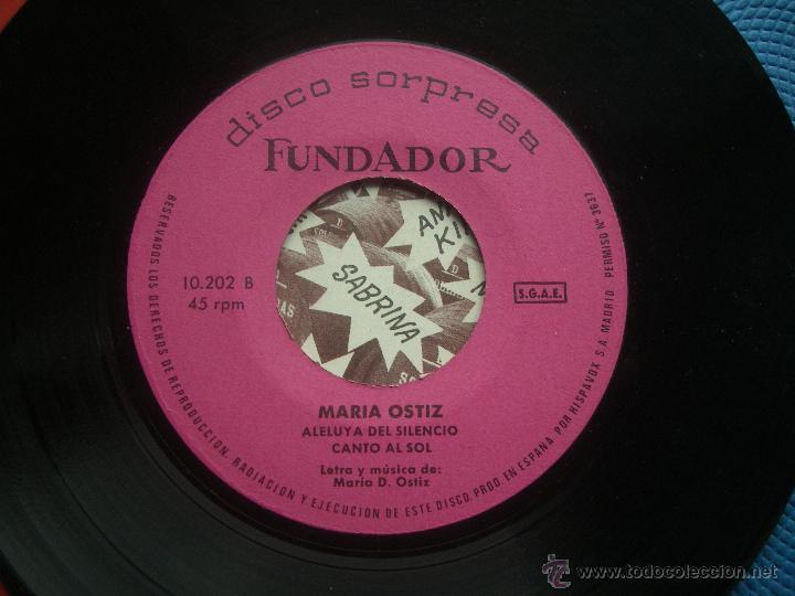 SINGLE FUNDADOR CON CARATULA MARIA OSTIZ EP 1970 VER FOTOS (Música - Discos de Vinilo - EPs - Solistas Españoles de los 70 a la actualidad)