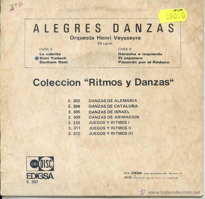 Discos de vinilo: ALEGRES DANZAS / COLECCION RITMOS Y DANZAS (EP 1969) VER TEMAS - Foto 2 - 52750358