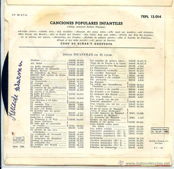 Discos de vinilo: CANCIONES INFANTILES - CORO DE NIÑAS Y ORQUESTA (EP 1963 VER TEMAS) - Foto 2 - 52750891