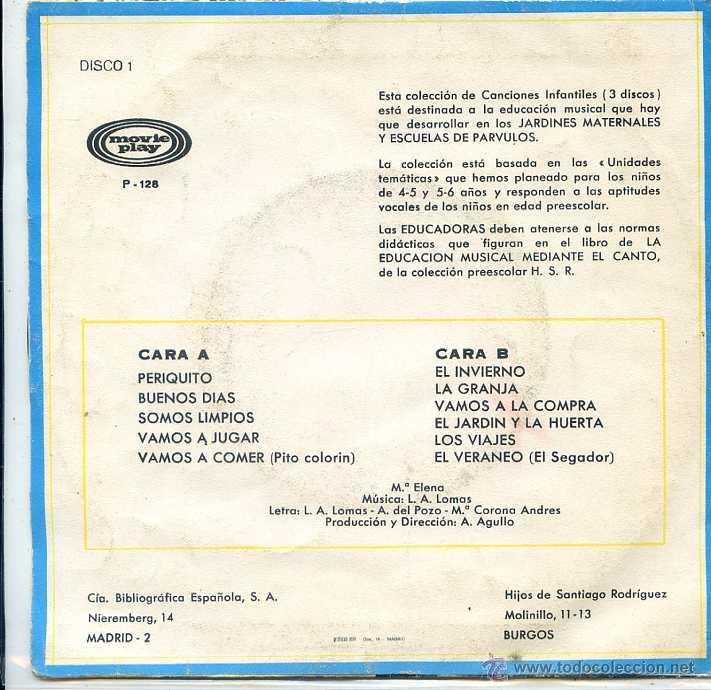 Discos de vinilo: CANCIONES INFANTILES - EDUCACION PREESCOLAR (EP 1970) VER TEMAS - Foto 2 - 52758496