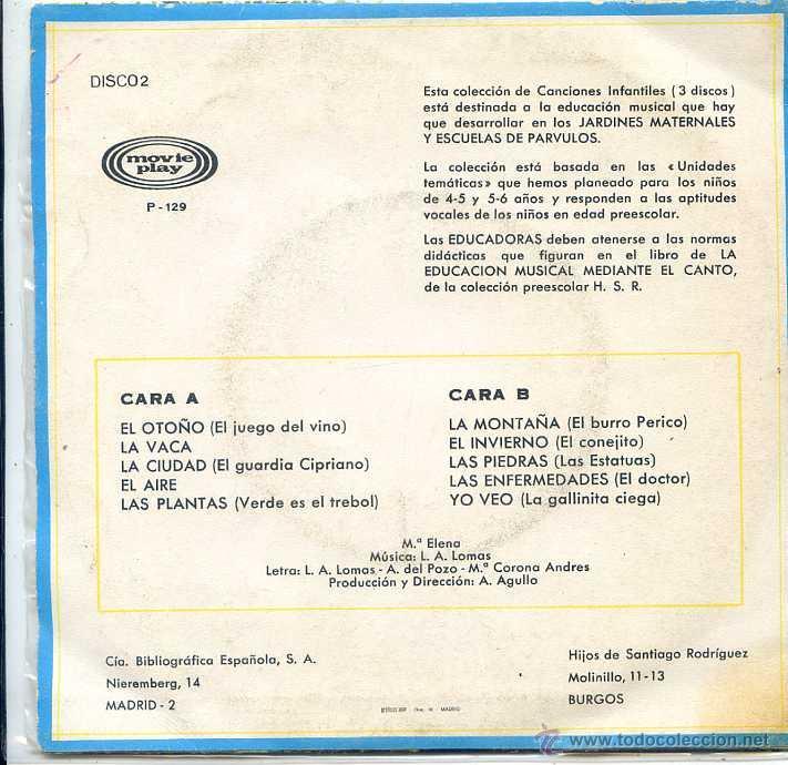 Discos de vinilo: CANCIONES INFANTILES - EDUCACION PREESCOLAR (EP 1970) VER TEMAS - Foto 2 - 52758507