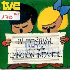 Discos de vinilo: IV FESTIVAL DE LA CANCION INFANTIL - LOS PEQUEÑOS CANTORES / LA CANCION DEL MULERO + 1 (SINGLE 1970). Lote 52759632