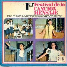 Discos de vinilo: I FESTIVAL DE LA CANCION MENSAJE - ALUMNAS DE LOS COLEGIOS DE LA HIJAS DE MARIA AUXILIADORA (EP 1968. Lote 52759740
