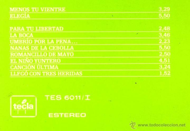 """Discos de vinilo: JOAN MANUEL SERRAT - MIGUEL HERNÁNDEZ - LP 12"""" - CON INSERTO - Editado en PORTUGAL - TECLA 1973 - Foto 4 - 52780211"""