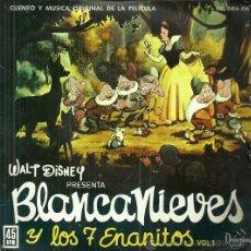 Discos de vinilo: BLANCA NIEVES DE WALT DISNEY EP SELLO HISPAVOX AÑO 1962 EDITADO EN ESPAÑA. Lote 52805879