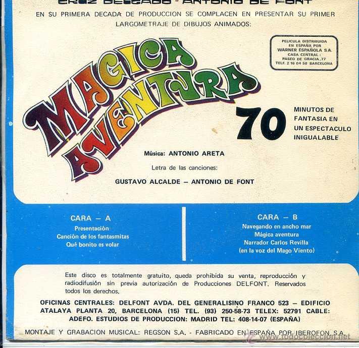 Discos de vinilo: MAGICA AVENTURA / CANCION DE LOS FANTASMITAS / QUE BONITO ES VOLAR + 2 (EP 1973) - Foto 2 - 52820619