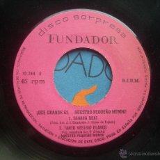 Discos de vinilo: SINGLE FUNDADOR CON CARATULA QUE GRANDE ES NUESTRO PEQUEÑO MUNDO EP 1972 VER FOTOS. Lote 52831486