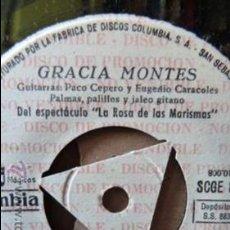 Discos de vinilo: GRACIA MONTES -EN EL ROCIO CANTA-Y 3 MAS PROMOCIONAL SIN PORTADA. Lote 52859747