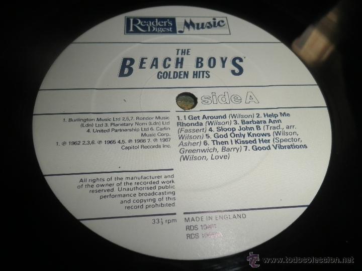 Discos de vinilo: THE BEACH BOYS - GOLDEN HITS - READER´S DIGETS RECORDS 1986 - EDICION INGLESA GGOM-A-9-180 - - Foto 16 - 52888304