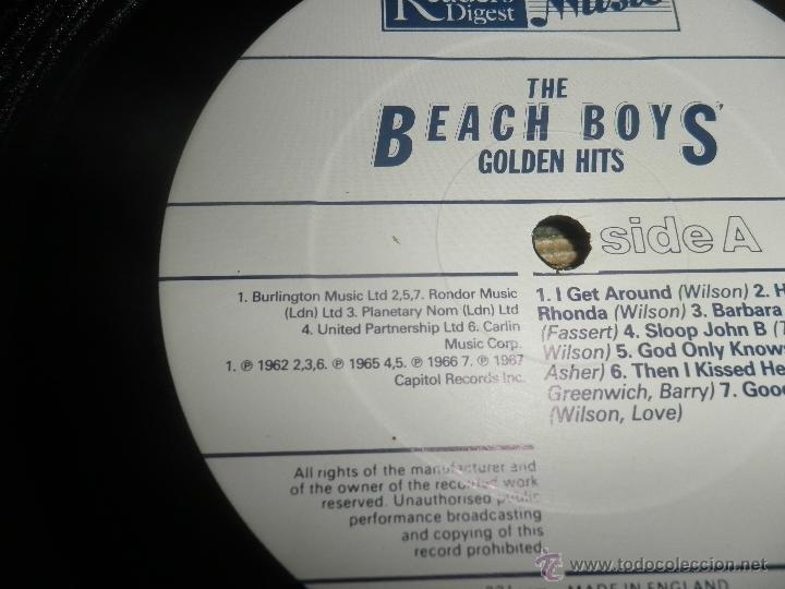 Discos de vinilo: THE BEACH BOYS - GOLDEN HITS - READER´S DIGETS RECORDS 1986 - EDICION INGLESA GGOM-A-9-180 - - Foto 17 - 52888304