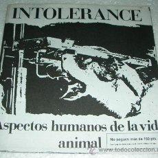 Discos de vinilo: INTOLERANCE - ASPECTOS HUMANOS DE LA VIDA ANIMAL - EP 1992 PUNK HARDCORE. Lote 52891784