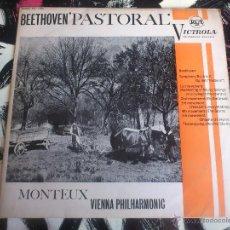 Discos de vinilo: BEETHOVEN - PASTORAL - MONTEUX - VIENNA PHILHARMONIC - LP - VINILO - RCA - VICTROLA - 1963. Lote 52899630