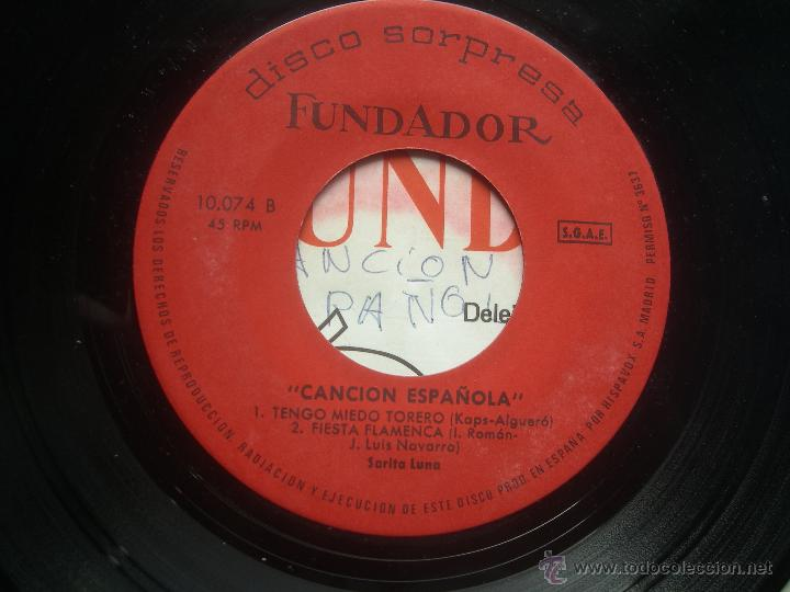 SINGLE FUNDADOR CON CARATULA CANCION ESPAÑOLA EP 1965 VER FOTOS (Música - Discos de Vinilo - EPs - Solistas Españoles de los 50 y 60)