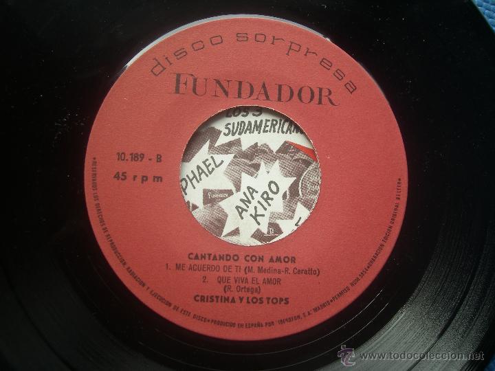 SINGLE FUNDADOR CON CARATULA CRISTINA Y LOS TOPS EP 1970 VER FOTOS (Música - Discos de Vinilo - EPs - Solistas Españoles de los 70 a la actualidad)