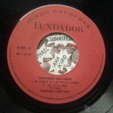 Discos de vinilo: SINGLE FUNDADOR CON CARATULA CRISTINA Y LOS TOPS EP 1970 VER FOTOS. Lote 52925294