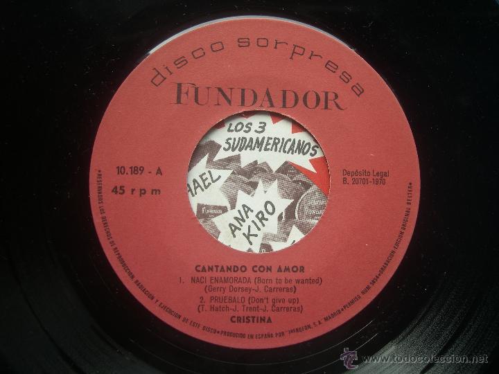 Discos de vinilo: single FUNDADOR CON CARATULA CRISTINA Y LOS TOPS EP 1970 VER FOTOS - Foto 2 - 52925294