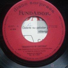 Discos de vinilo: SINGLE FUNDADOR CON CARATULA FRAGMENTOS DE ZARZUEA EP 1965 VER FOTOS. Lote 52940413