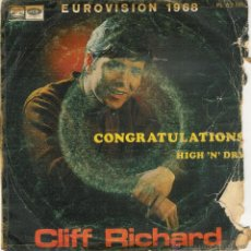 Discos de vinilo: CLIFF RICHARD CONGRATULATIONS -EUROVISION 1968 - SINGLE. Lote 52984625