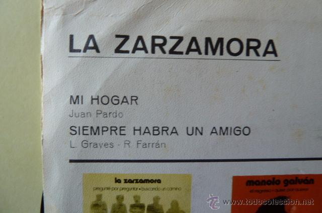 Discos de vinilo: LA ZARZAMORA-MI HOGAR-SIEMPRE HABRA UN AMIGO- - Foto 2 - 53025143