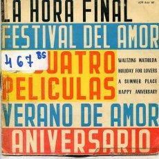Disques de vinyle: 4 PELICULAS / LA HORA FINAL + 3 (EP 1960). Lote 53031965