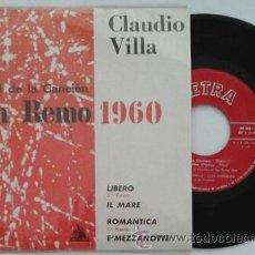 Discos de vinilo: CLAUDIO VILLA -EP- LIBERO + 3 RARE SPAIN 1960. Lote 53046710