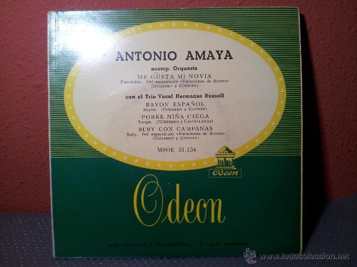 Discos de vinilo: EP 45 RPM / ANTONIO AMAYA / ME GUSTA MI NOVIA /// EDITADO POR ODEON - Foto 4 - 53070505