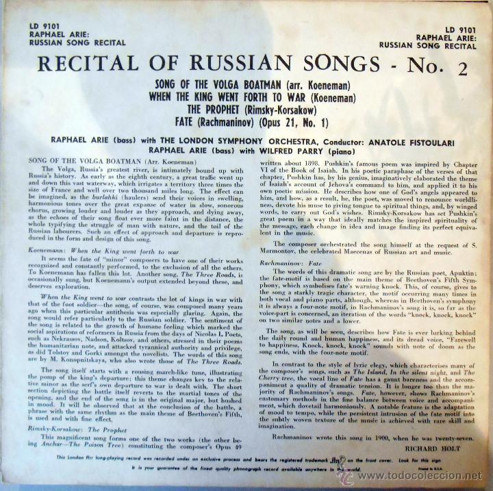 Discos de vinilo: Raphael Arié. al piano:Wilfred Parry -Musica rusa Usa ,5´ 4 temas - Foto 2 - 53078412