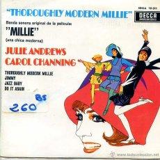 Discos de vinilo: MILLIE (BANDA SONORA) JULIE ANDREWS / THROUGHLY MODERN MILLIE + 1 - CAROL CHANNING (EP 1967). Lote 53103575