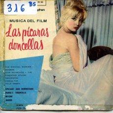 Discos de vinilo: LAS PICARAS DONDELLAS (BANDA SONORA) PHILIP GREEN / UPSTAIRS AND DOWNSTAIRS+ 3 (EP 1960) VINILO AZUL. Lote 53103996